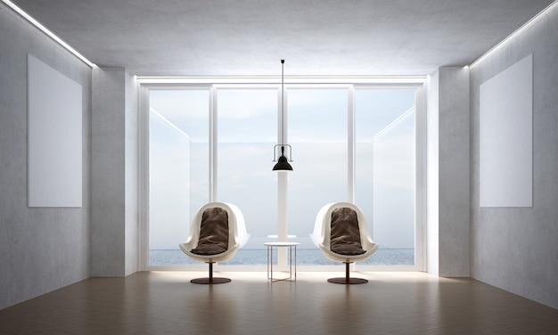 A sala de estar moderna e as cadeiras simulam móveis e o fundo da parede de concreto e vista para o mar