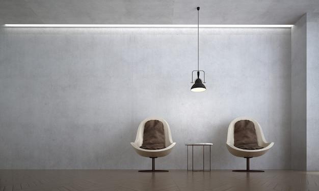 A sala de estar moderna e as cadeiras simulam uma decoração de móveis e um fundo de parede de concreto vazio