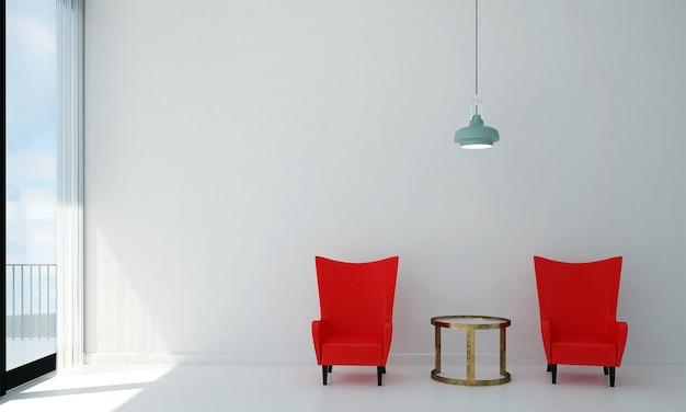 A sala de estar moderna e as cadeiras vermelhas simulam a decoração dos móveis e o fundo branco da parede