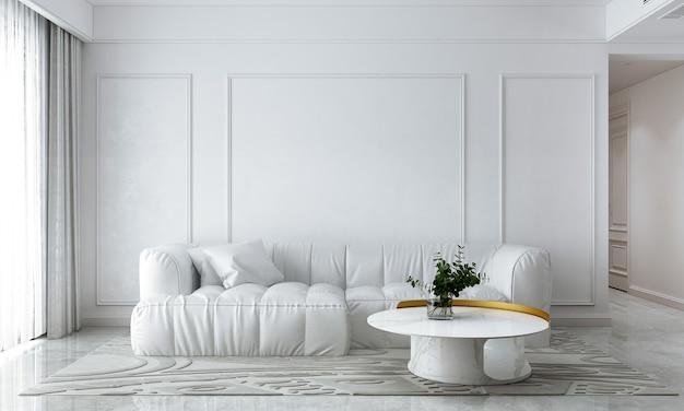 A sala de estar moderna e o sofá branco simulam decoração de móveis e fundo de parede vazio