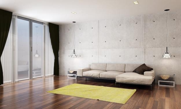 A sala de estar moderna e simulação de decoração de móveis e fundo de parede de concreto vazio