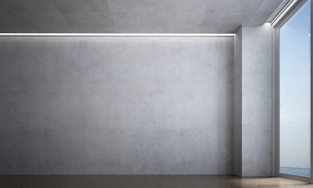 A sala de estar vazia do loft e as cadeiras simulam móveis e o fundo da parede de concreto