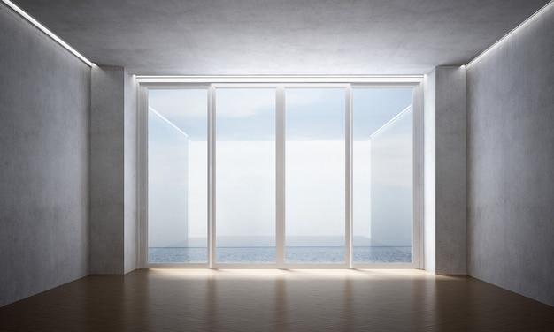 A sala de estar vazia e as cadeiras simulam móveis, o fundo da parede de concreto e a vista para o mar
