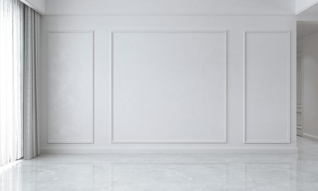 A sala de estar vazia e uma simulação de decoração de móveis e fundo de parede branco