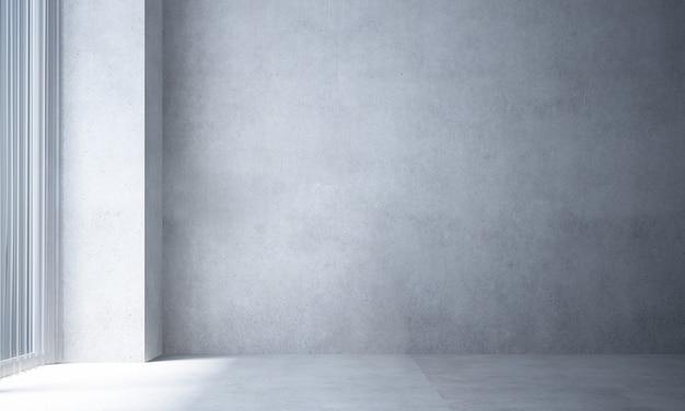 A sala de estar vazia mínima e simulação de decoração de móveis de madeira e fundo de parede de concreto