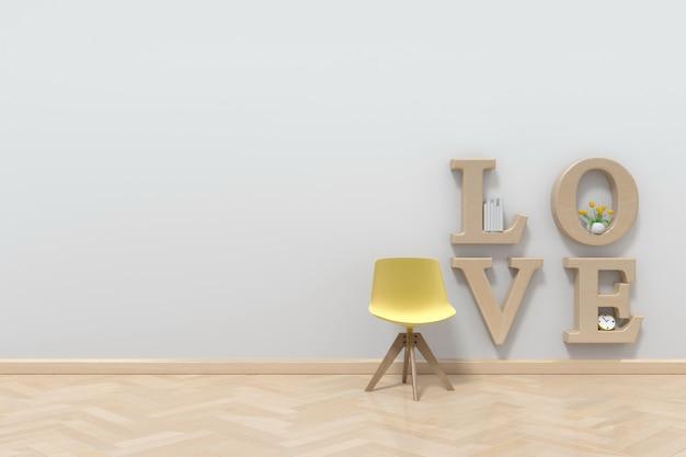 A sala do amor destinada a ler livros e a viver, renderização em 3d