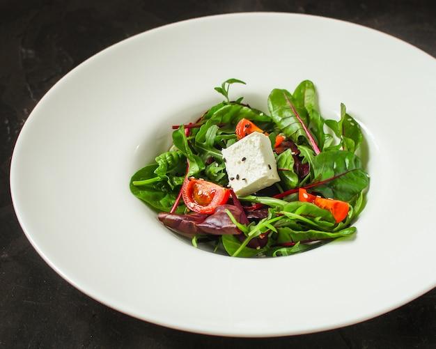 A salada saudável sae em uma placa branca (micro verdes da mistura, petisco suculento). fundo de comida