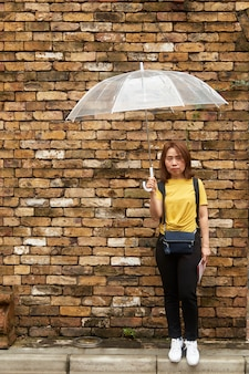 A senhora bonita atrativa prende um guarda-chuva.