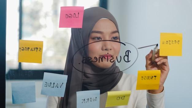 A senhora muçulmana asiática escreve informações, estratégia, lembrete na placa de vidro no novo escritório normal.