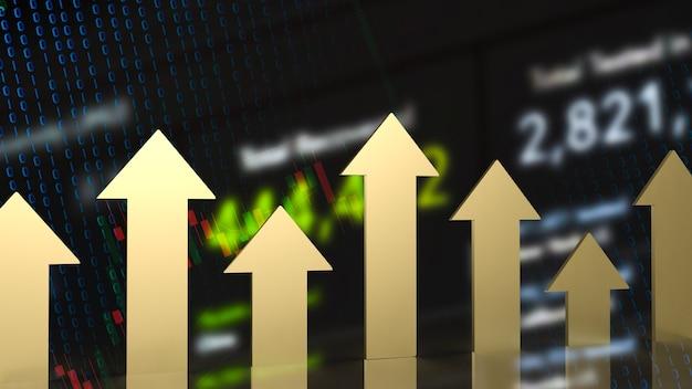 A seta de ouro no plano de negócios para renderização 3d de conceito financeiro