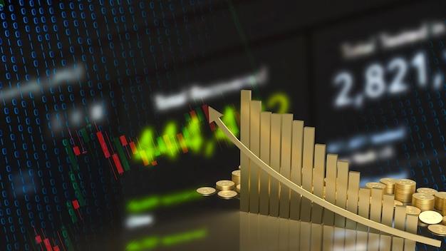 A seta do gráfico de ouro para cima para o conceito de negócios renderização em 3d