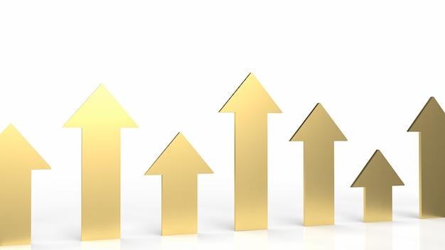 A seta dourada sobre fundo branco para renderização 3d de conceito de negócio