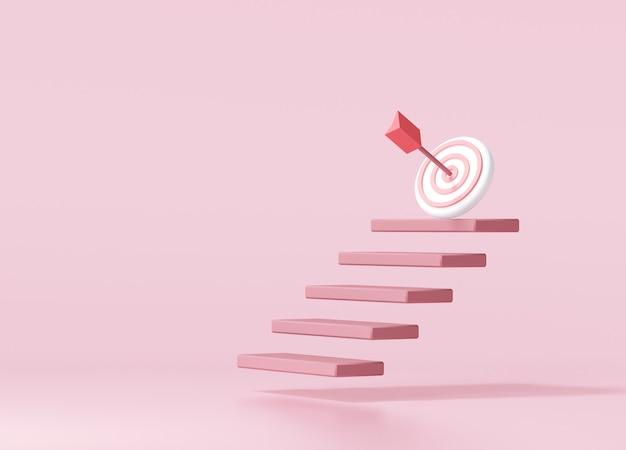 A seta vermelha atingiu o centro do alvo no topo da escada. estratégia de negócios e conceito de realização de meta. ilustração 3d render