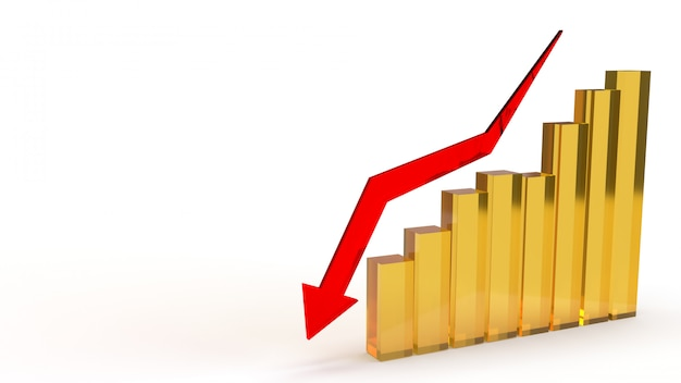 A seta vermelha poontong para baixo no gráfico, rendição 3d.