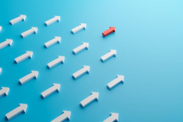 A seta vermelha segue em frente e leva um líder ao alvo de sucesso, renderização de ilustração 3d