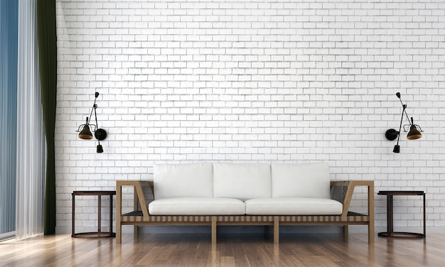 A simulação de decoração, móveis, sala de estar e textura de parede vazia, design de interiores