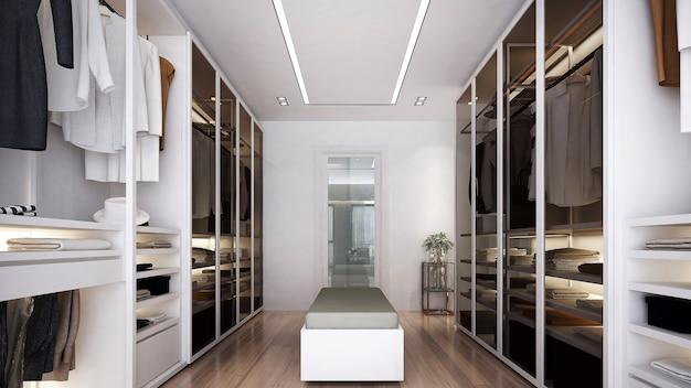 A simulação do design de interiores da área do closet e do fundo branco da parede