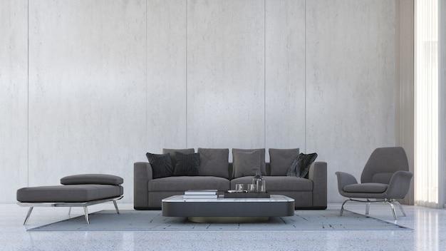 A simulação do design interior da decoração do quarto e da parede de concreto