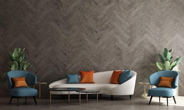 A simulação do interior de um quarto moderno e aconchegante com uma cadeira e uma parede de madeira.