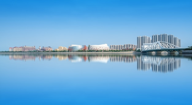 A, skyline, de, arquitetônico, paisagem, em, huangdao, distrito, de, qingdao
