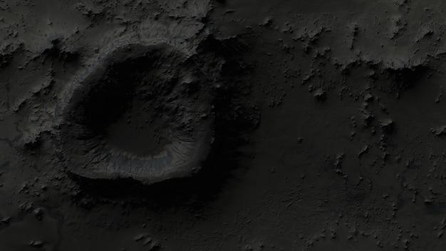 A superfície da lua em close-up das crateras