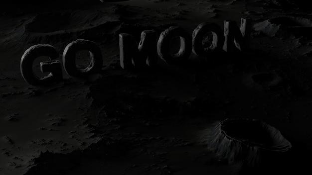 A superfície da lua em crateras com a inscrição