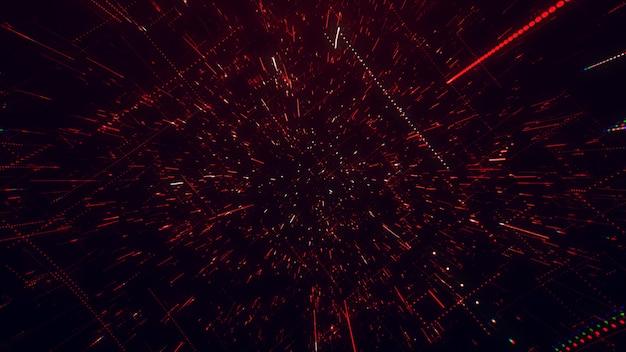 A superfície da tecnologia com linhas de caos e grade é uma imagem abstrata de computador com aberrações cromáticas. arte digital: um fundo técnico, de ficção científica ou de ficção científica sombrio. ilustração 3d