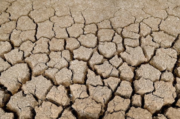 A superfície do solo marrom está rachada. conceito de aquecimento global. textura de terra rachada.