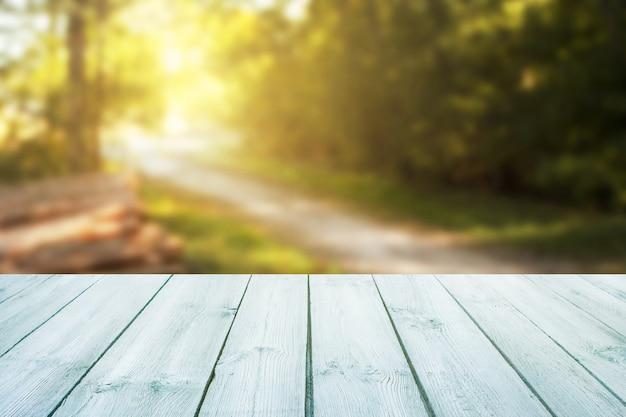 A tabela azul no fundo borrado da estrada de floresta pode ser usada para indicar ou montar seu produto.