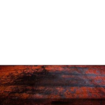 A tabela vazia do metal do grunge no branco isolado, indica a montagem para o produto.