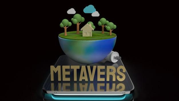 A terra no tablet para renderização 3d de conteúdo do metaverso