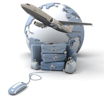 A terra, um avião decolando, uma pilha de bagagem incluindo malas, pastas, bolsa de golfe, conectada a um mouse de computador em tons de azul claro