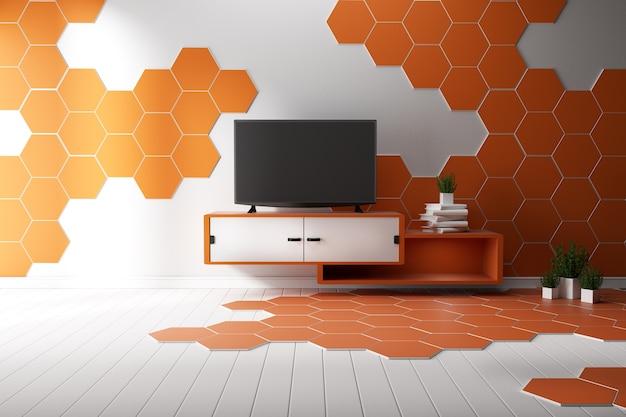 A tevê na sala vazia moderna, minimal projeta telhas de madeira brancas e do hexágono. renderização em 3d