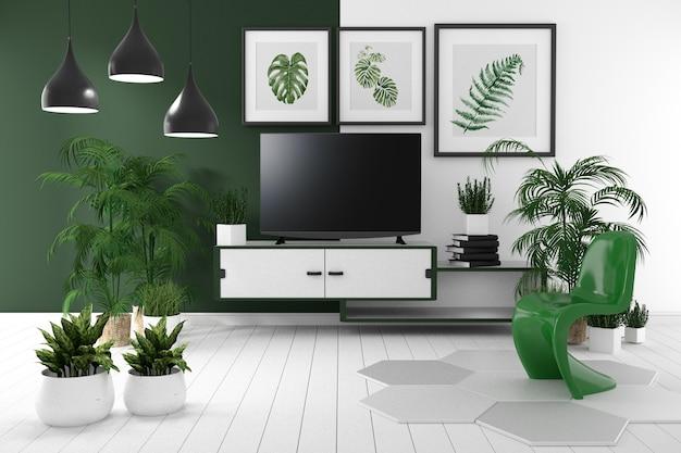 A tevê no armário na sala vazia tropical tem a lâmpada, flor, livro, rendição 3d