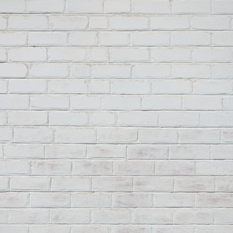 A textura da parede de tijolos, pintada de branco