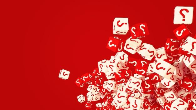 A textura de cubos espalhados com um ponto de interrogação
