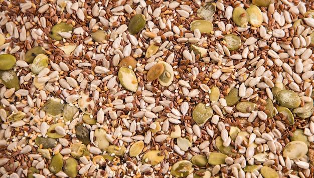 A textura de sementes de girassol úteis, abóbora, chia e outros. copie o espaço. fundo