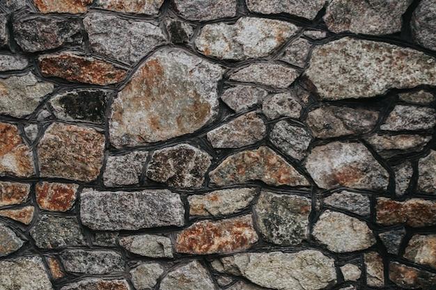 A textura de uma parede de castelo medieval de pedra com defeitos naturais, arranhões, fendas, fendas, lascas ...