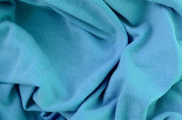 A textura do tecido na cor azul