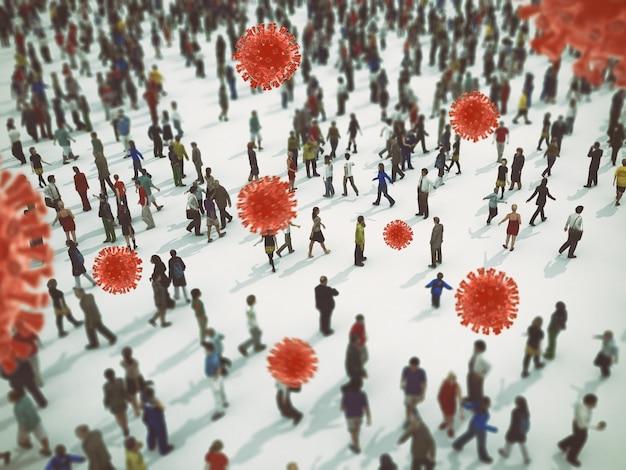 A transmissão do vírus sars cov 2 é culpada da doença covid 19. renderização em 3d