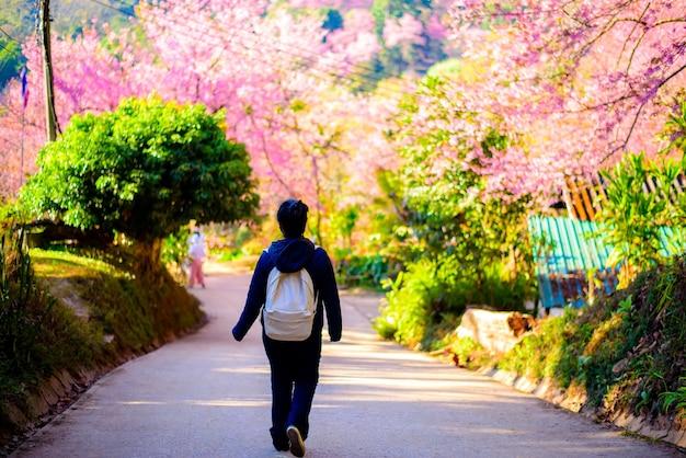 A turistas viajando para o jardim de flores colorido jardim de flores em meio à bela natureza