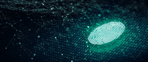 A varredura de impressão digital fornece acesso de segurança com código binário. conceito de segurança de impressão digital