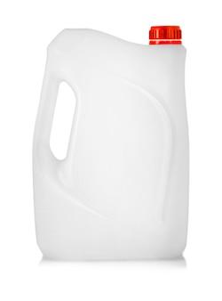 A vasilha de plástico branco com tampa vermelha