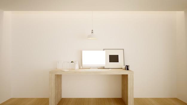 A vida interior mínima no apartamento e estilo de fundo renderização em 3d