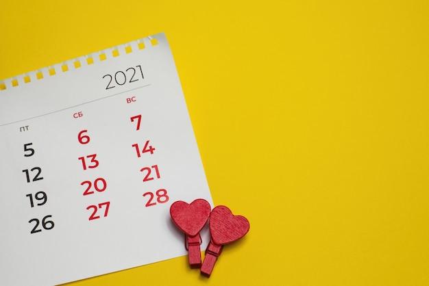 A vista de cima, calendário no dia dos namorados 14-02-2021