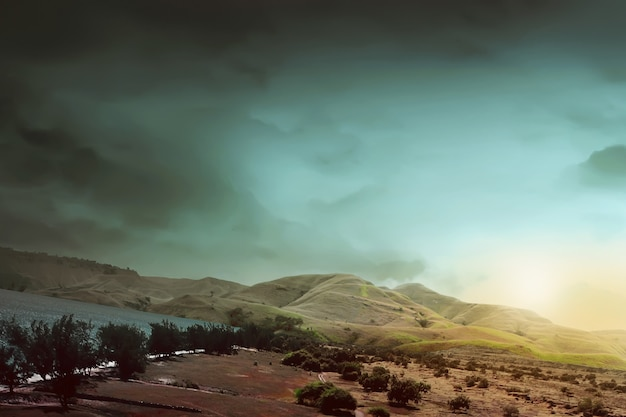 A vista do savana, céu e praia na ilha de sumba