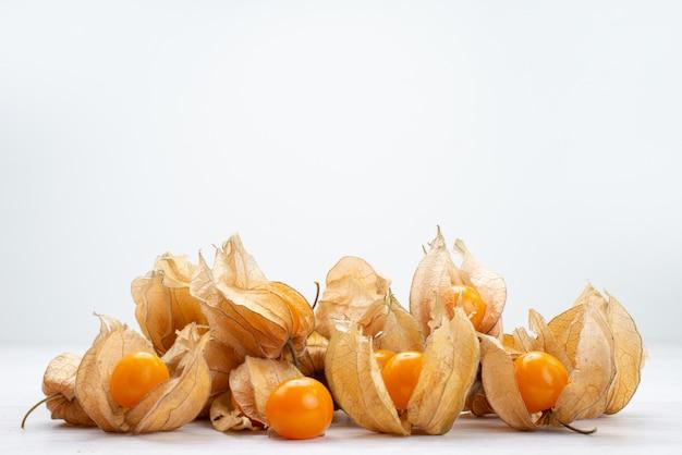 A vista frontal fresca fisaliza cor de laranja sobre branco