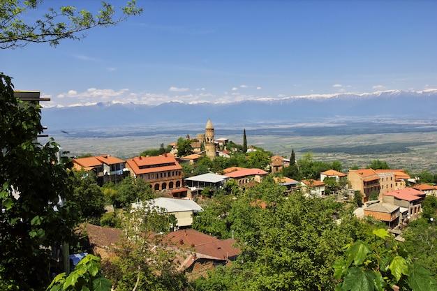 A vista no vale de signagi e alazani, geórgia