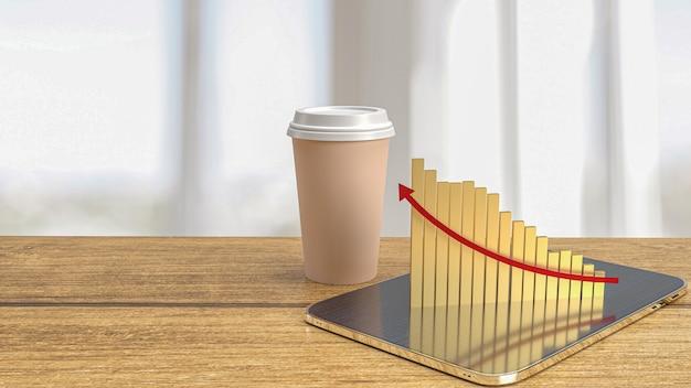 A xícara de café e o gráfico na mesa para comida ou conceito de negócio renderização em 3d