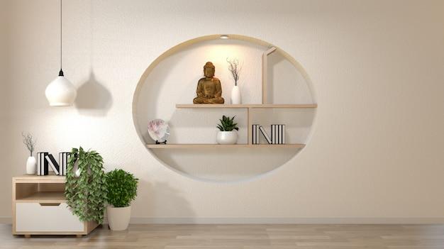 A zombaria branca da parede acima da sala vazia com livro e vaso e plantas no armário, decoaration na parede da prateleira projeta o estilo japonês.